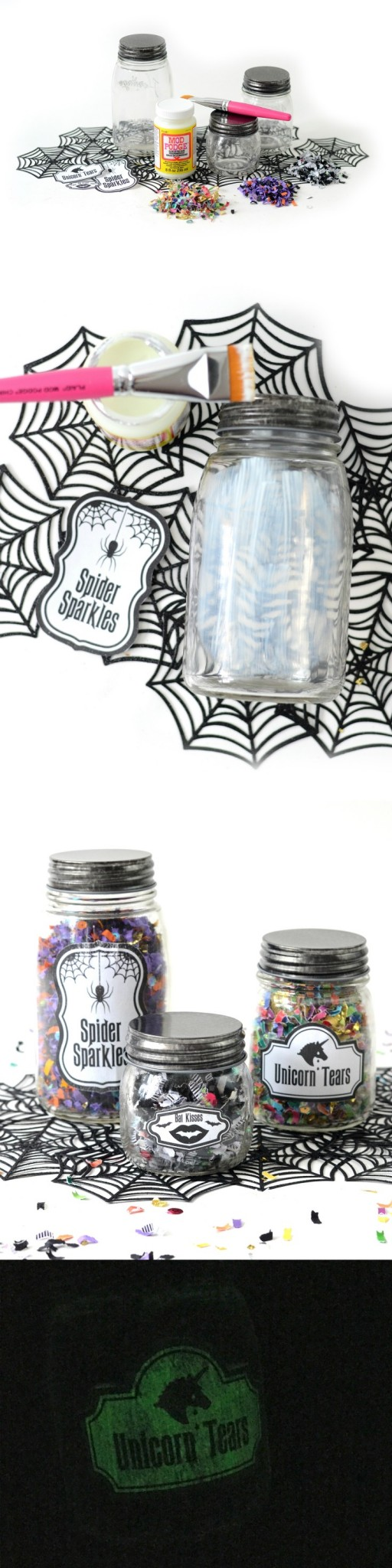 Confetti jars that glow in the dark make a perfect party favor for a Halloween celebration. Because who doesn't love confetti?! Get a free printable too! via @modpodgerocks