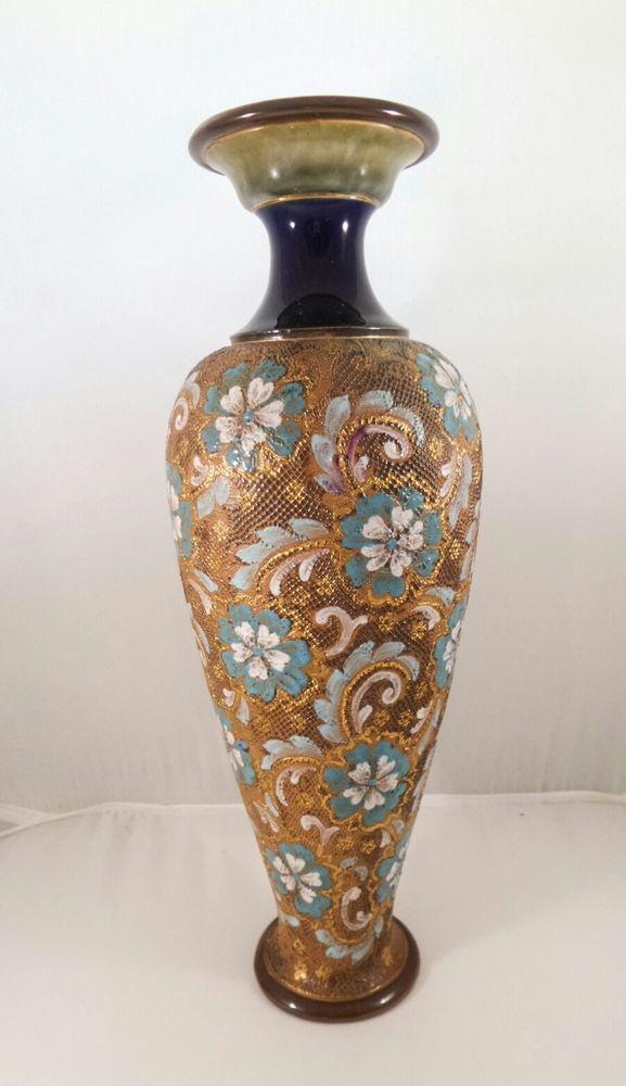 Royal Doulton Slaters Patent Large Stoneware Pearshaped Vase Gold