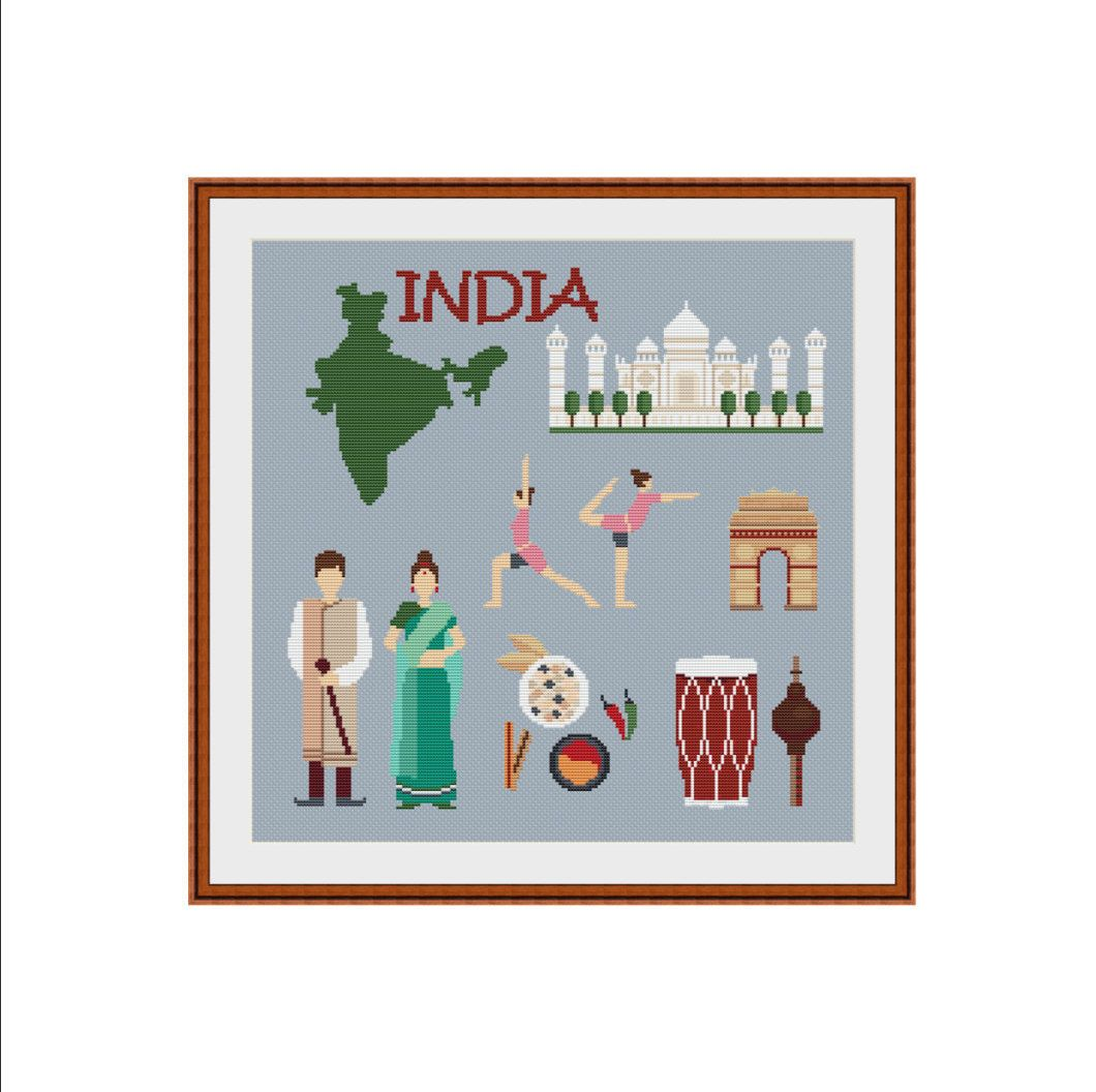 Cross Stitch Chart Indian Family