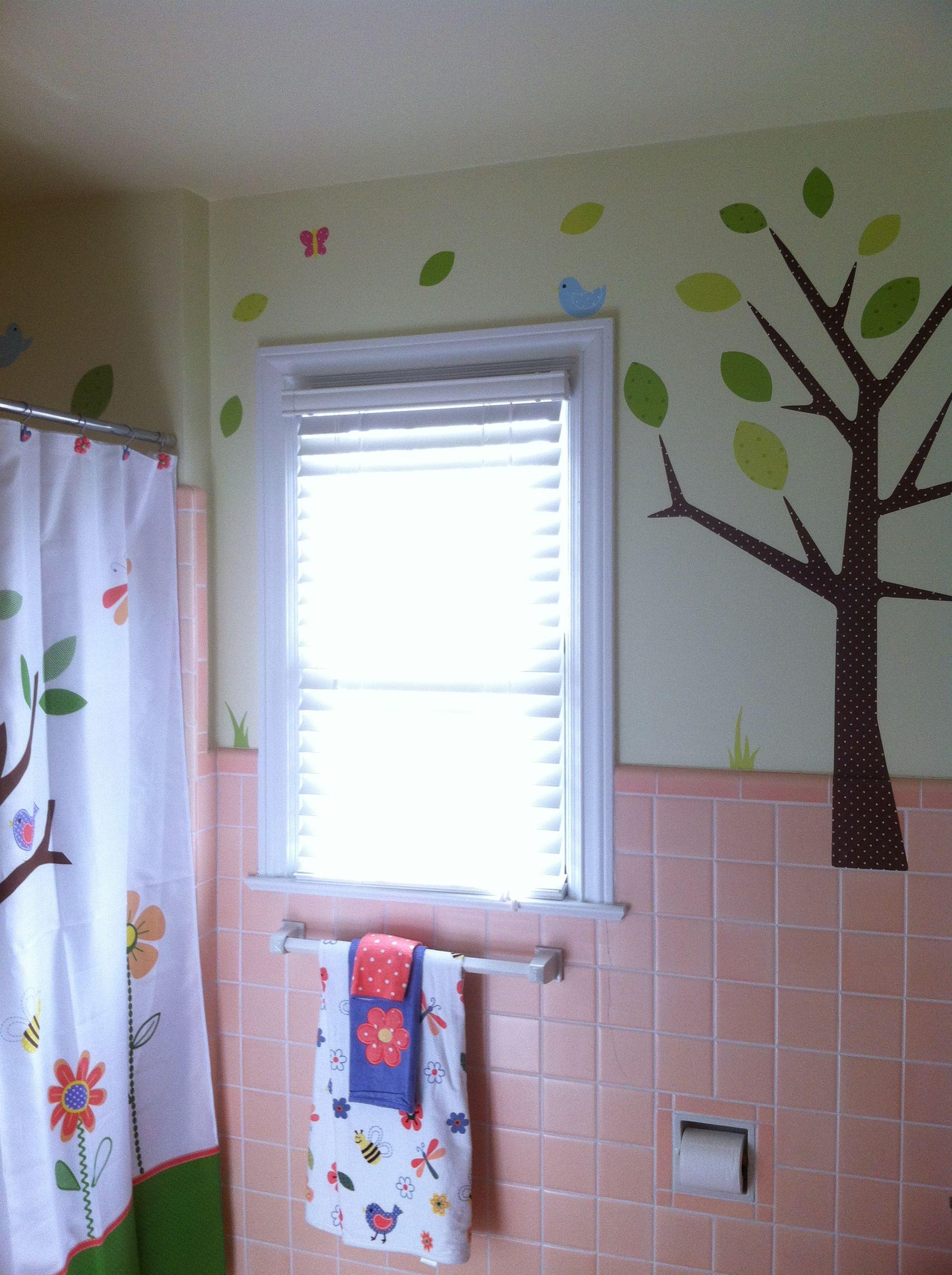 1940s Peach Tiled Bathroom Turned Into A Whimsical Unisex