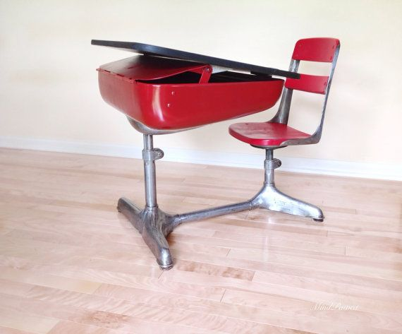 Chair And Desk Combo school desk chair combo. vintage american seating company