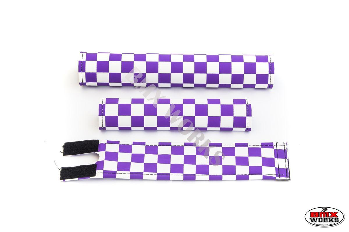 Checker Lavender /& White Old School BMX Flite BMX Pad Set
