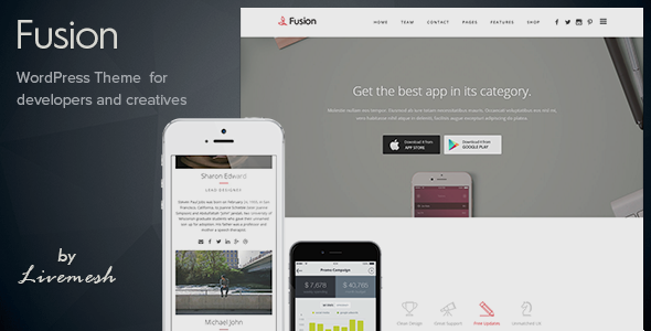 Fusion – Mobile App Landing WordPress Theme | All Top Templates ...