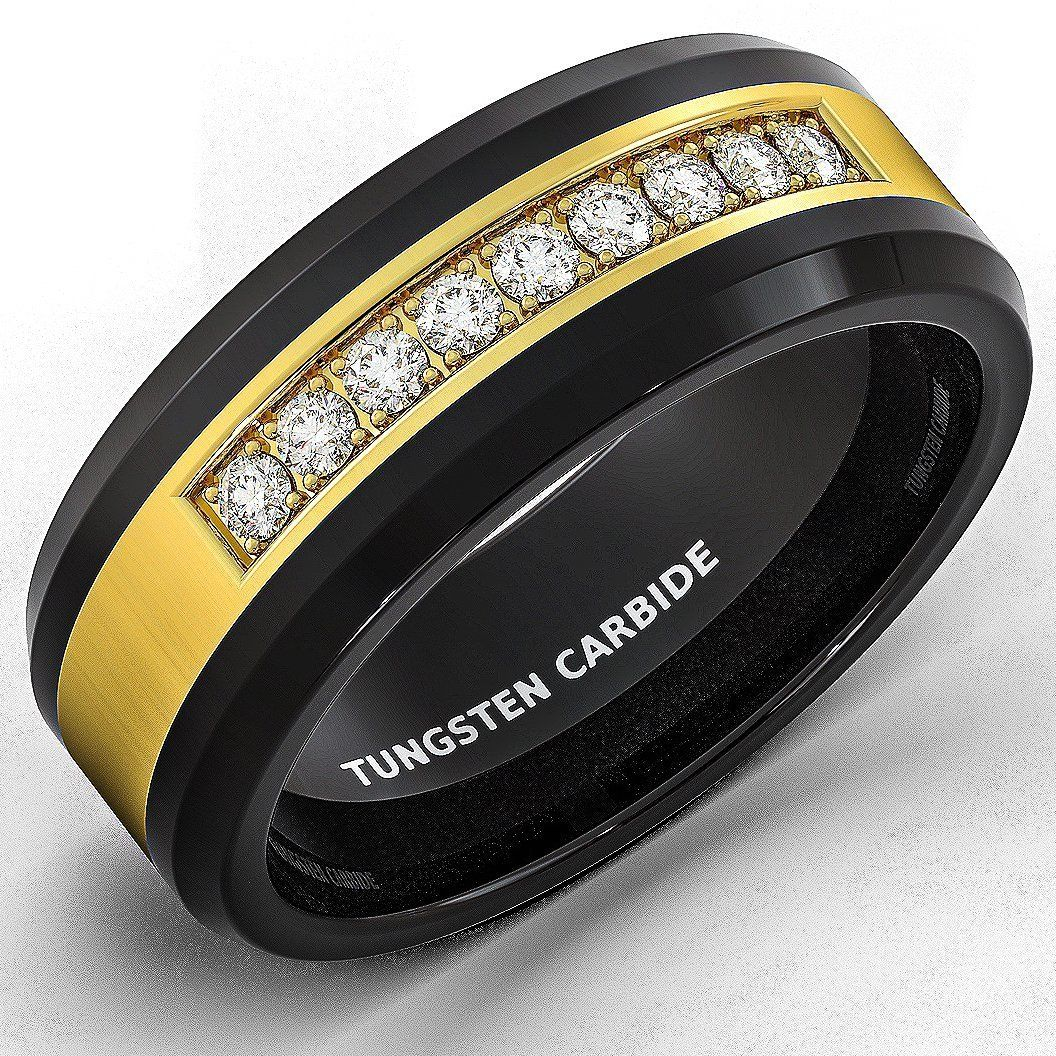 Mens Wedding Band Black Tungsten Ring Gold Inlay with