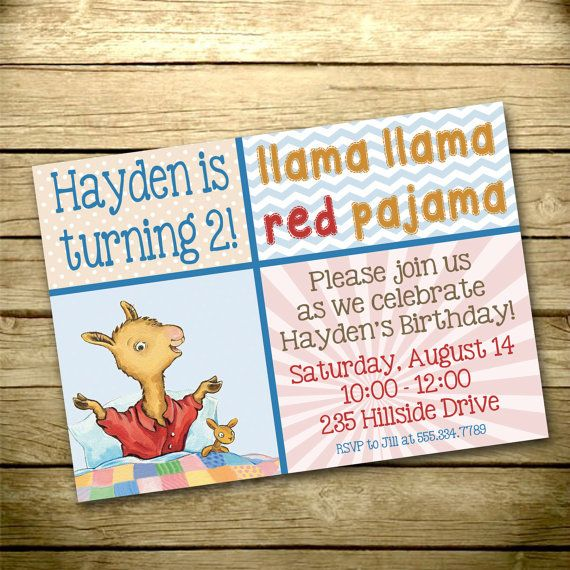 Llama Llama Red Pajama Digital Birthday Invitation Print