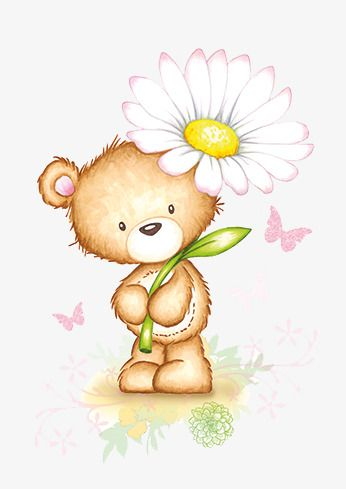 Bear holding flowers PNG and Clipart