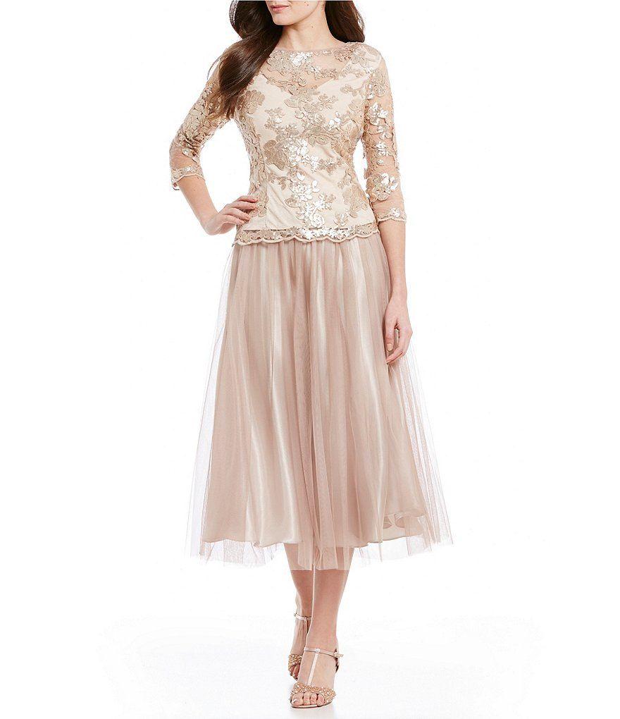 Alex evenings scalloped lace bodice dress tea length dresses alex