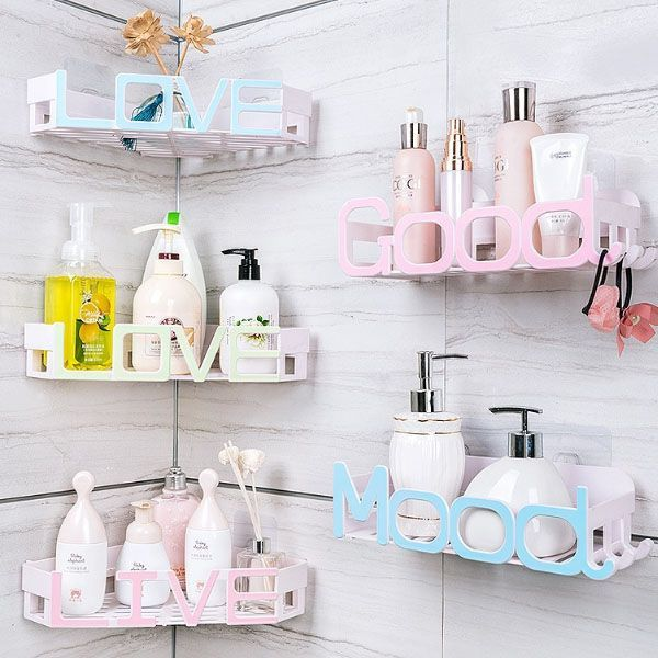 Art Deco Bath Storage Shelf is part of Bathroom shelves - Mood design with hooks 12 x 4 7 x 3 inches Corner LOVE design 13 x 11 x 2 inches Available in white, pink, blue and green