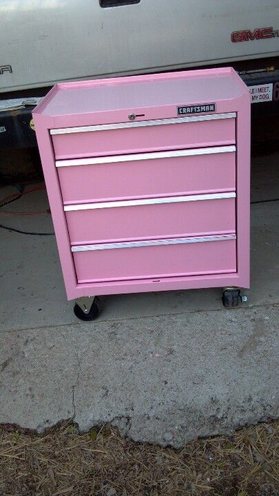 My boyfriend painted me this toolbox pink!!