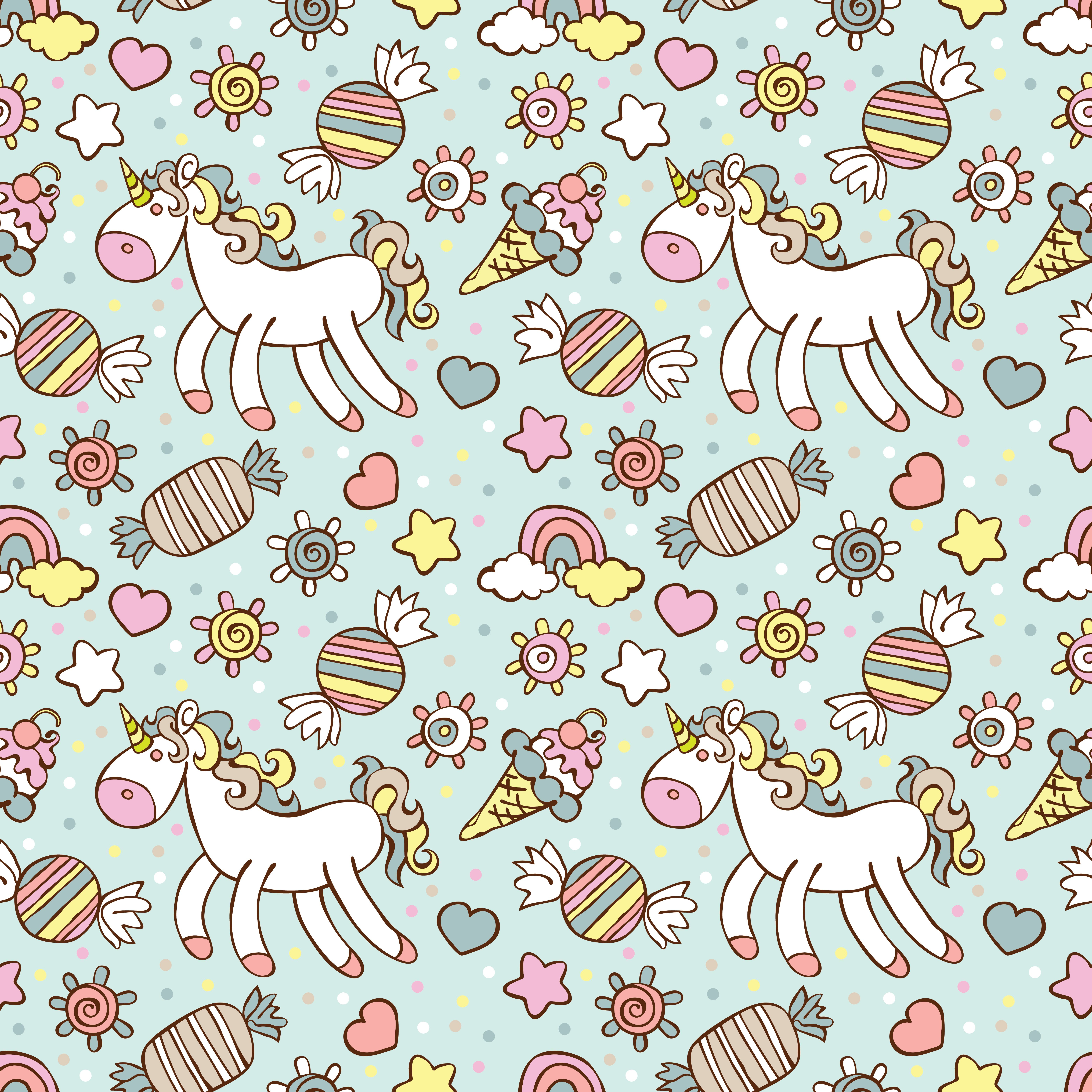 Cute Colorful Ice Cream Seamless Pattern Background: Unicorn. Ice Cream, Candy. Rainbow And Cloud. Sprockets