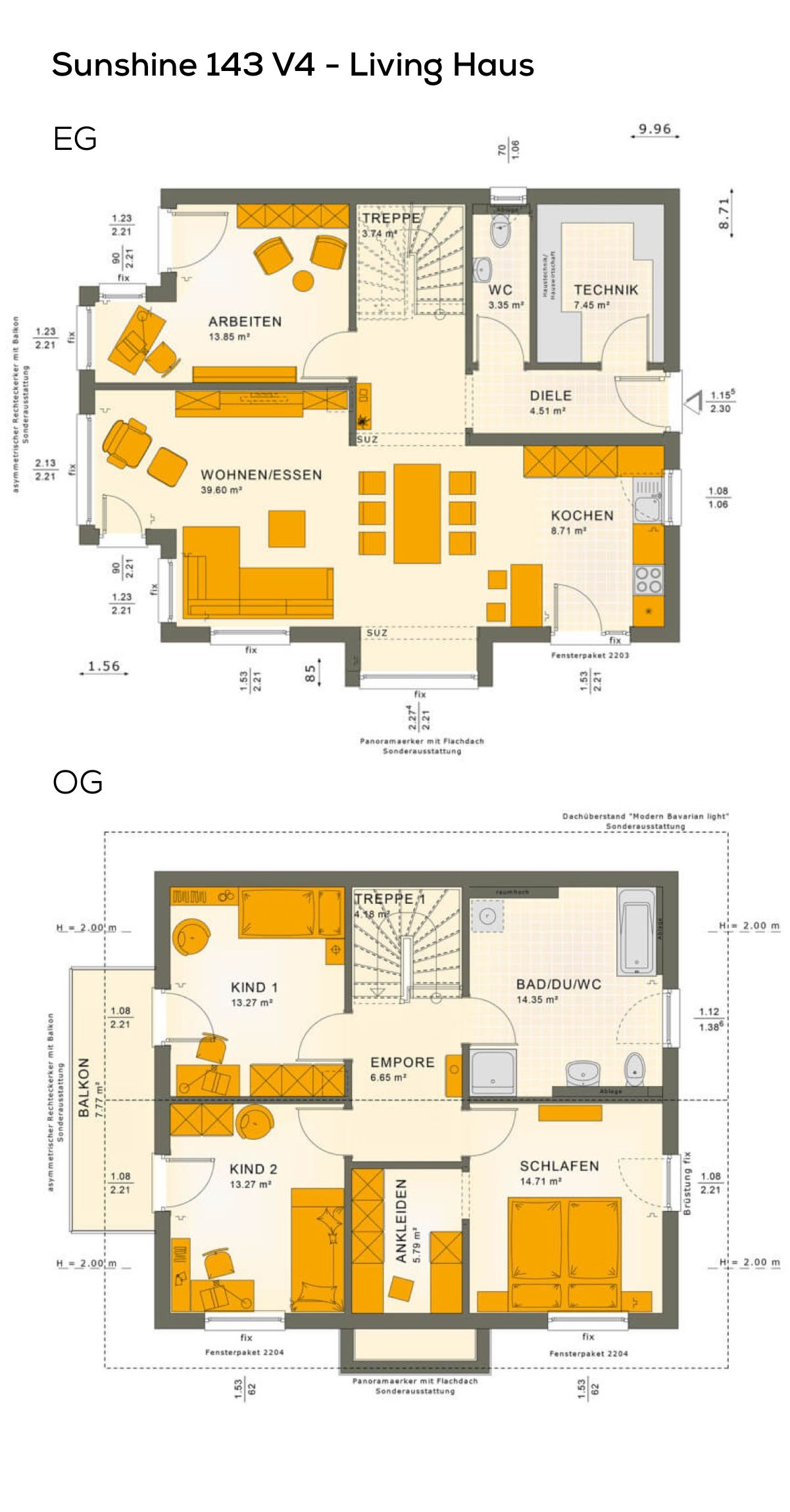 Grundriss Einfamilienhaus modern mit Satteldach Architektur - 5 ...