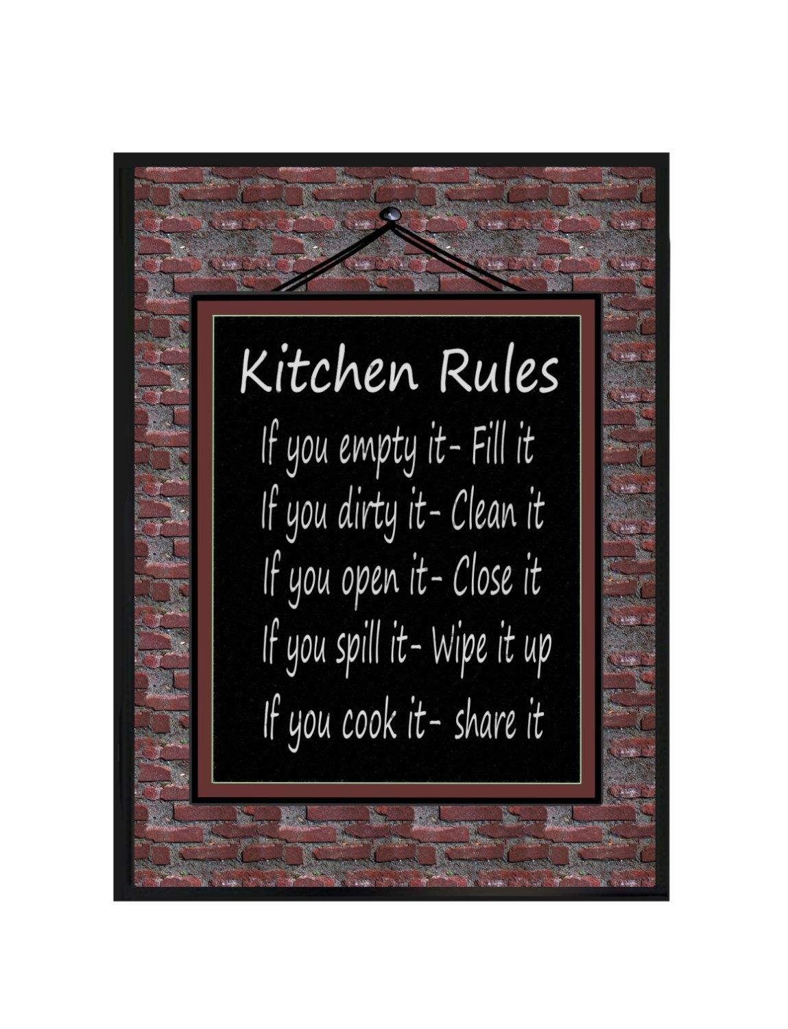 Kitchen Rules Wall Plaque Kitchen Wall Decor Funny Quotes Sign