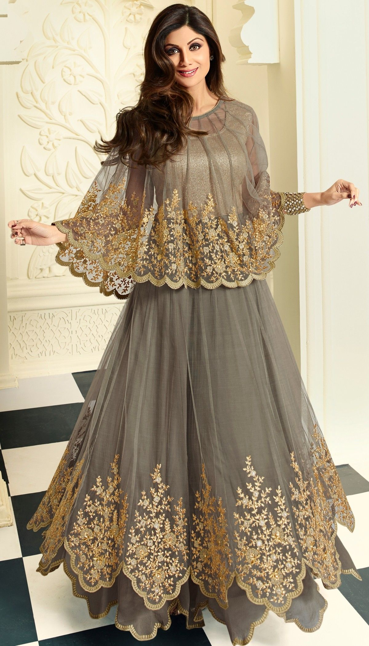 Shilpa Shetty Gray Net Crape Resham Stone Embroidered Long Anarkali
