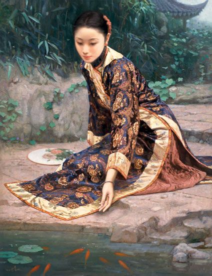 Hand Painted Woman Fish Oil Painting on Canvas at discounted price ...