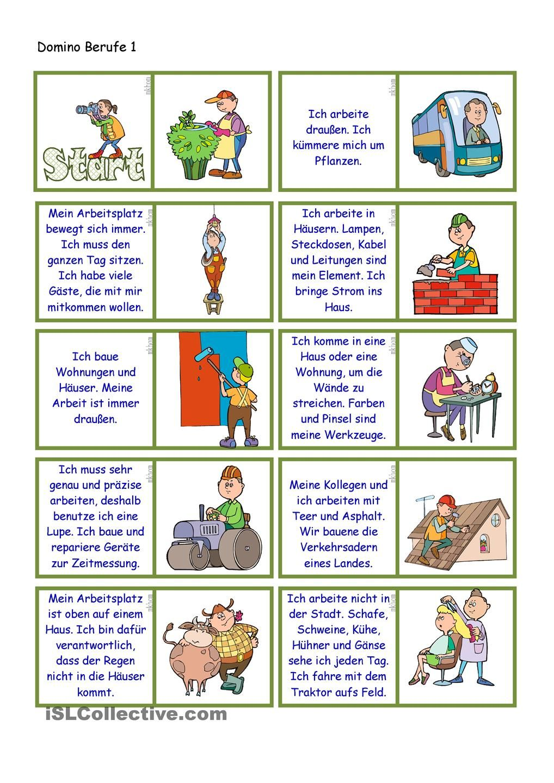 Berufe Domino Berufe Deutsch Und Arbeitsbl Tter
