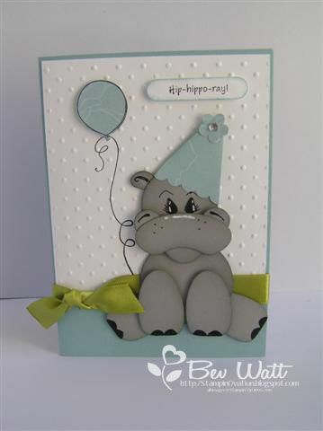 Birthday Hippo punch art - bjl