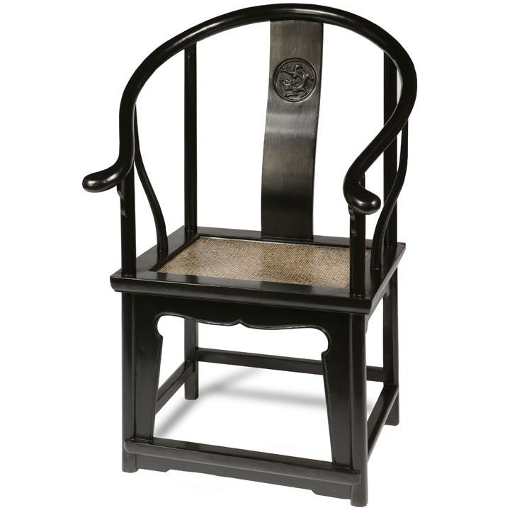 Chinese Horseshoe Armchair In Solid Elm With Rattan Seat, Natural Or Black  Lacquer From Shimu
