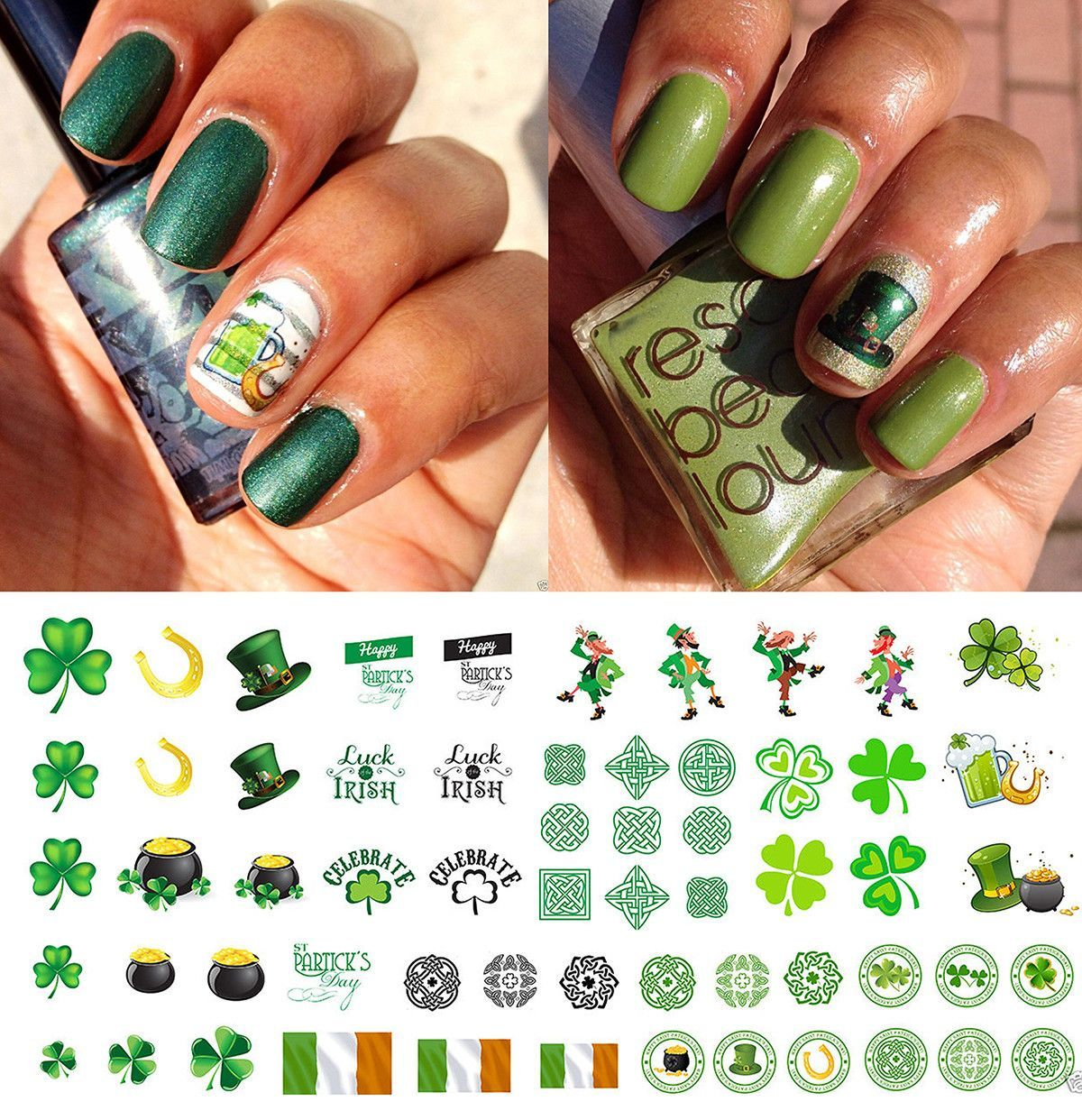 St. Patrick\'s Day Nail Art Decals Set #1 | Irish nails and Nail decals