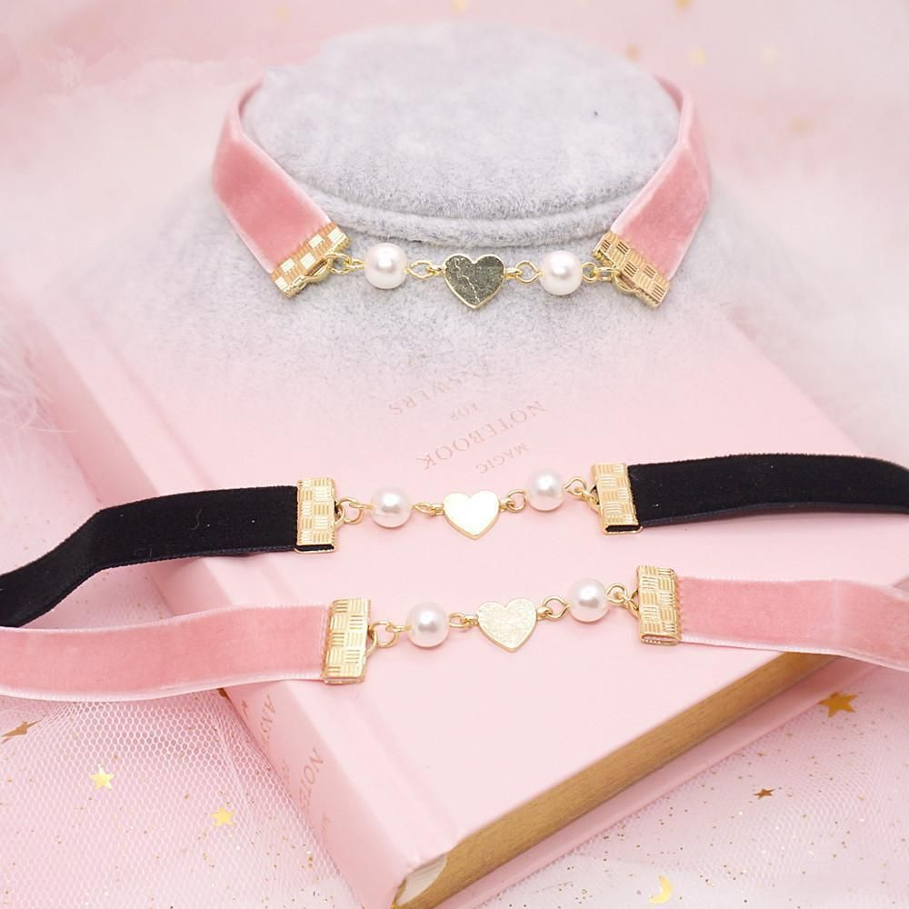 """Pink/black lolita pearl necklace SE10439        Coupon code """"cutekawaii"""" for 10 % off"""