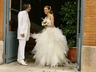 Robe mariee a plumes