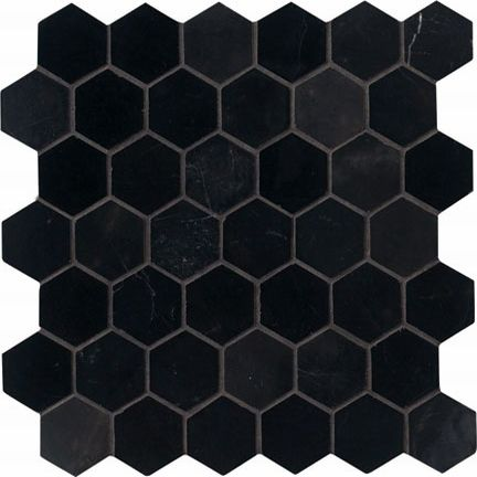 2 X Black Hex Tile With Gray Grout