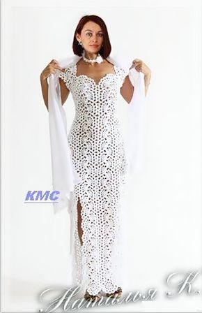 Vestido Em Crochê Com Sugestão Do Gráfico Do Ponto