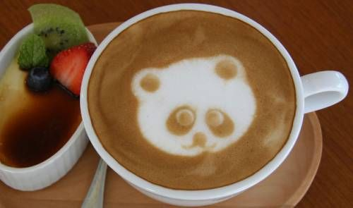 Panda coffee art.