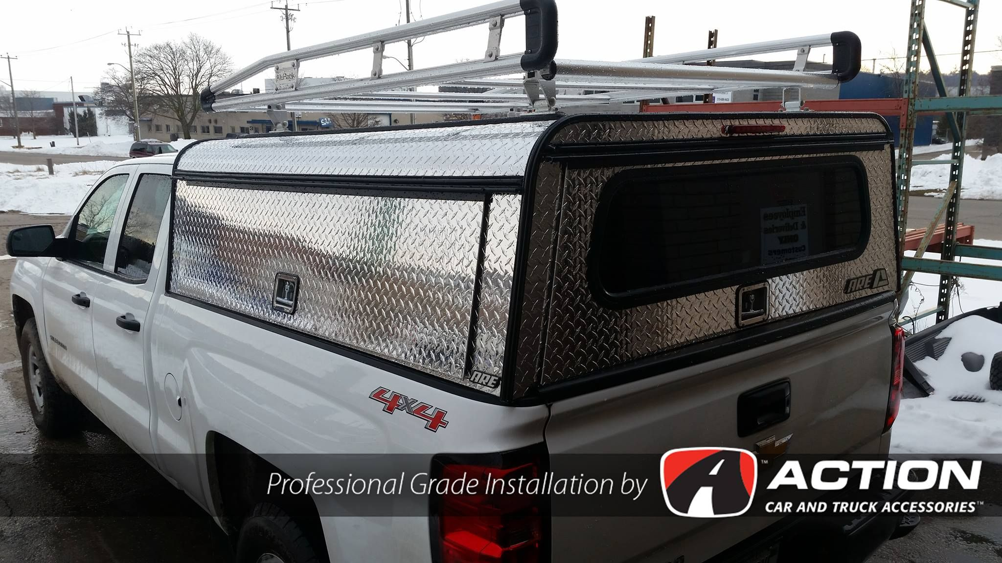 Chev Silverado With Installed Diamond Edition Series Cap By A R E Truck Caps And Tonneau Covers And A Prime Alurack Installed By Our Store In Kitchen Truck Caps