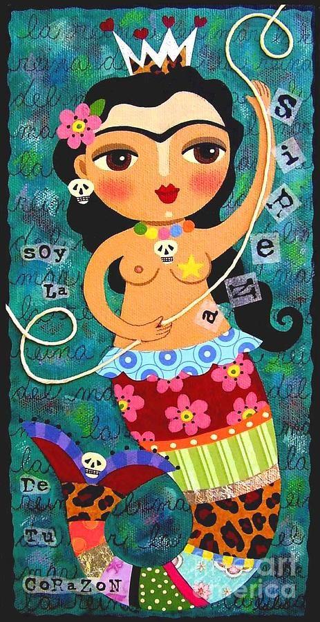 Frida Kahlo Mermaid Queen Canvas Print Art By LuLu Mypinkturtle