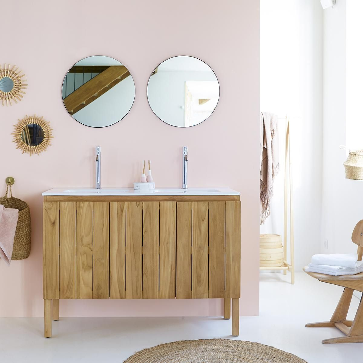 Jill Teak And Ceramic Vanity Cabinet 120 In 2020
