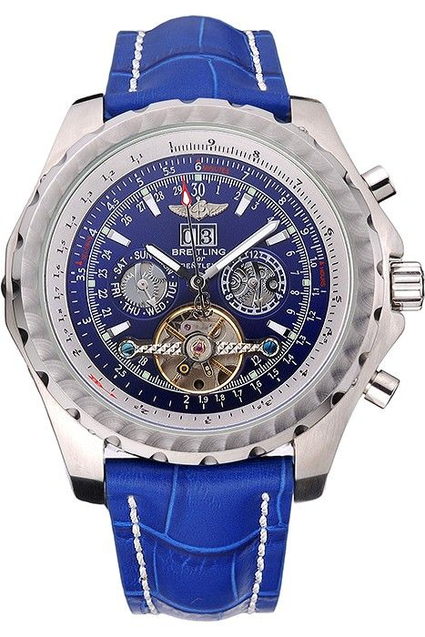 2162b37a76 Breitling Bentley Mulliner Tourbillon Blue Dial Stainless Steel Case Blue  Leather Strap 622726