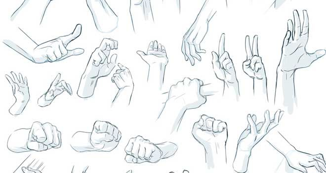 Collection of how to draw hands tutorials