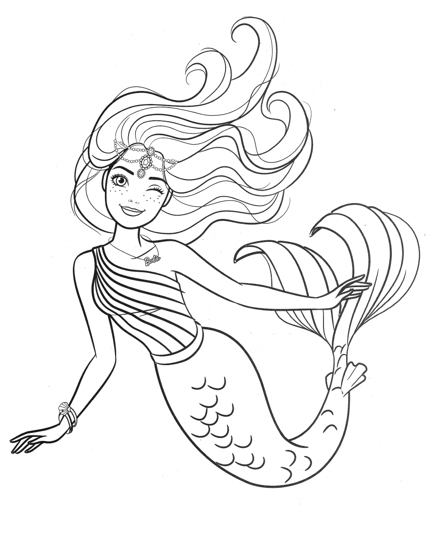 Barbie Mermaid Coloring Page In 2020 Mermaid Coloring Book Mermaid Coloring Barbie Coloring Pages