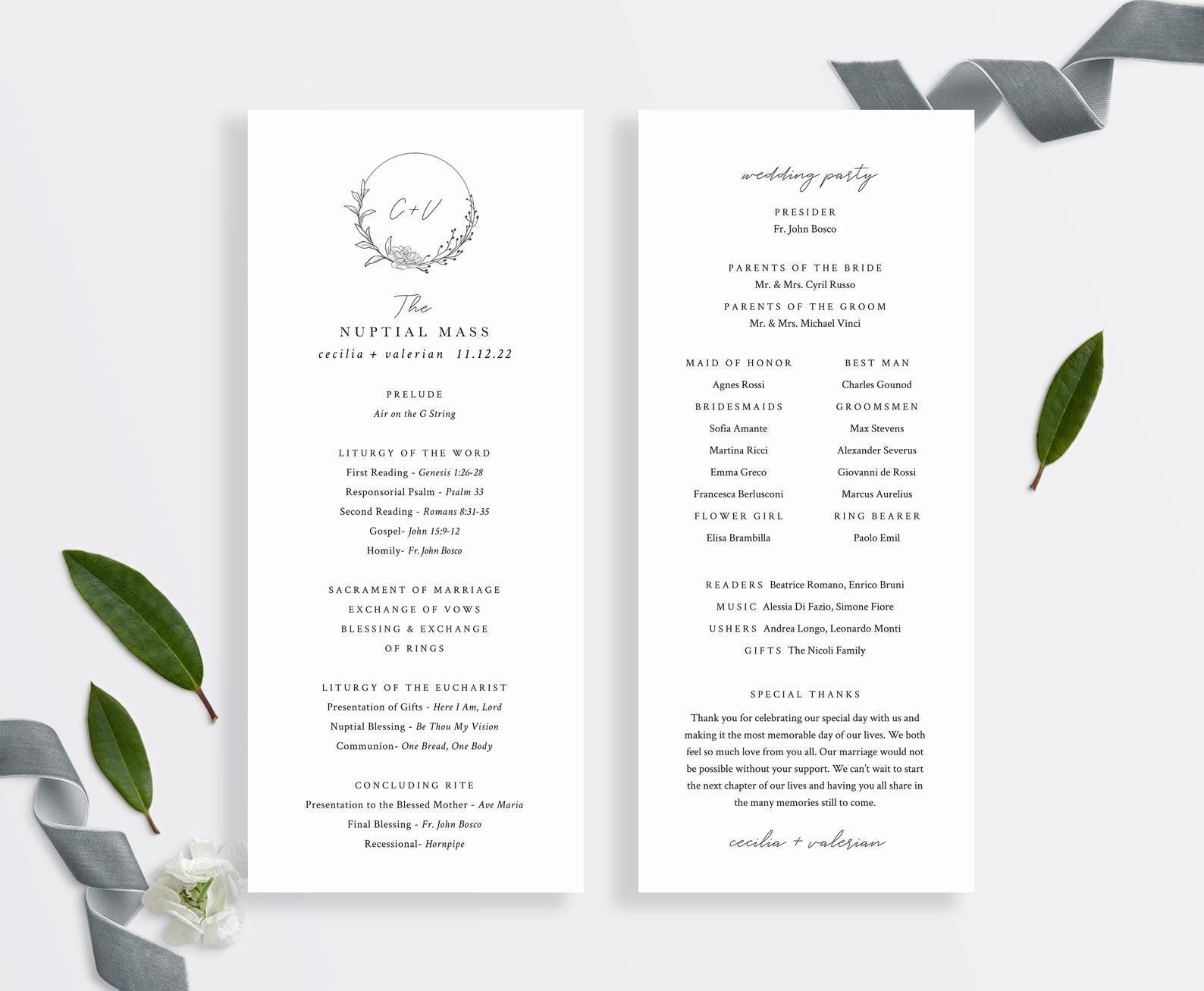 St. Cecilia Catholic Wedding Program Template with Mass