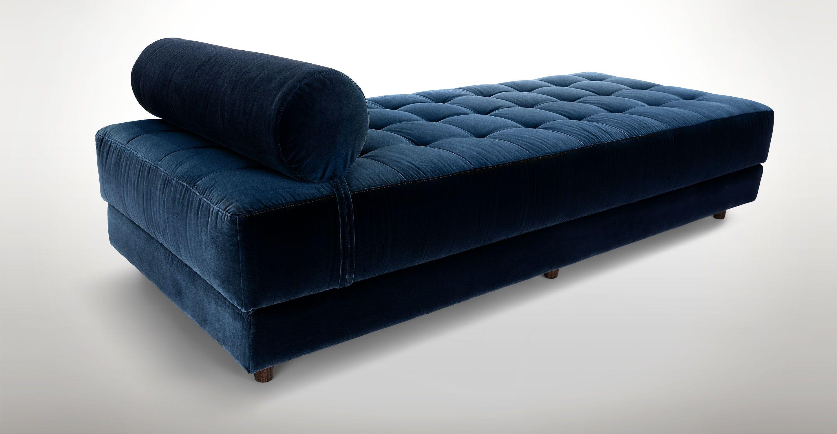 Blue Velvet Tufted Daybed - Article Sven Modern Bedroom Furniture ...