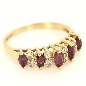 Estate 14 Karat Yellow Gold Diamond Ruby Anniversary Stack Band Ring Pre-Owned $369