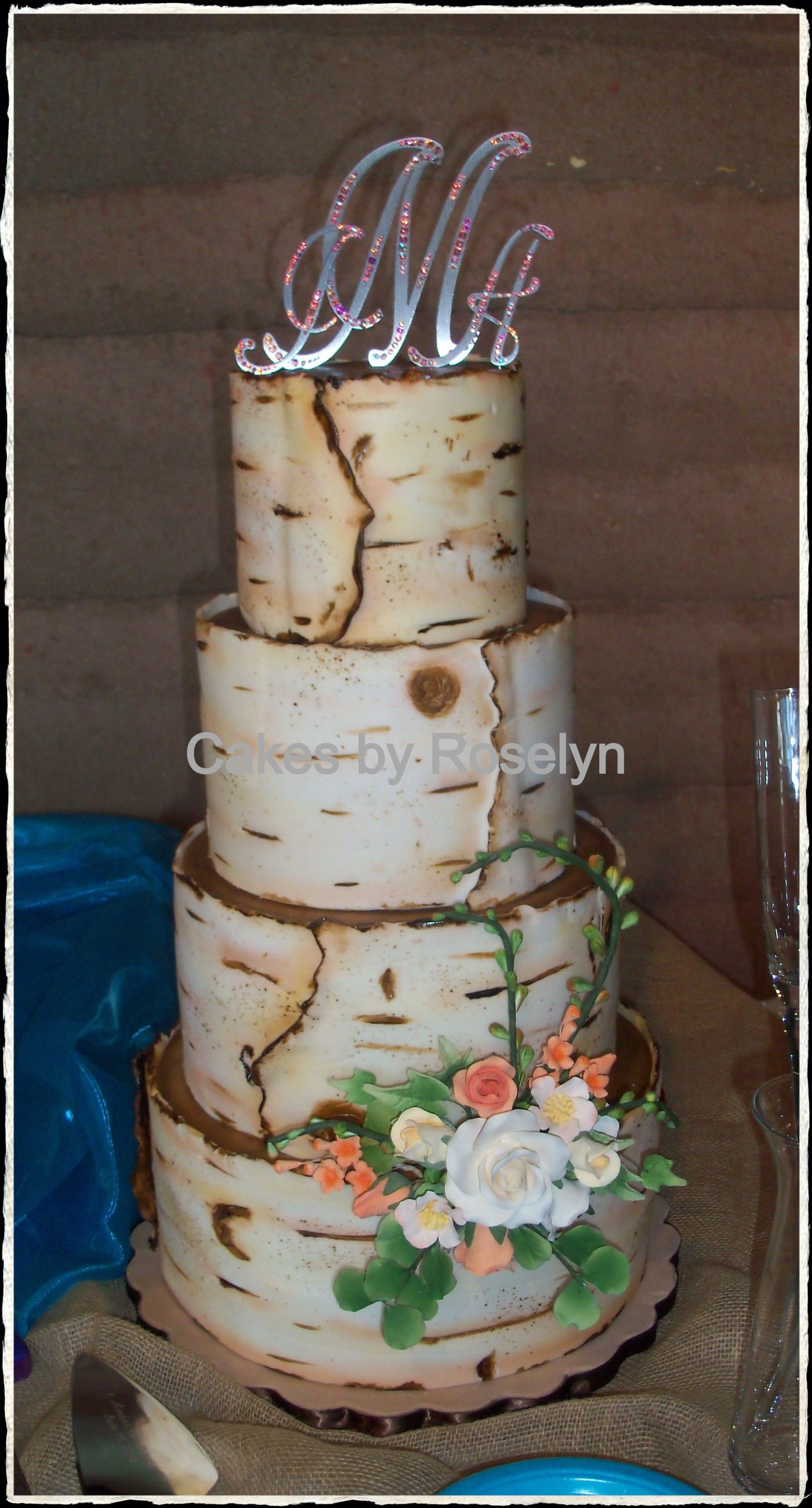 birch tree wedding cake with gumpaste flowers my cakes pinterest tree wedding cakes. Black Bedroom Furniture Sets. Home Design Ideas