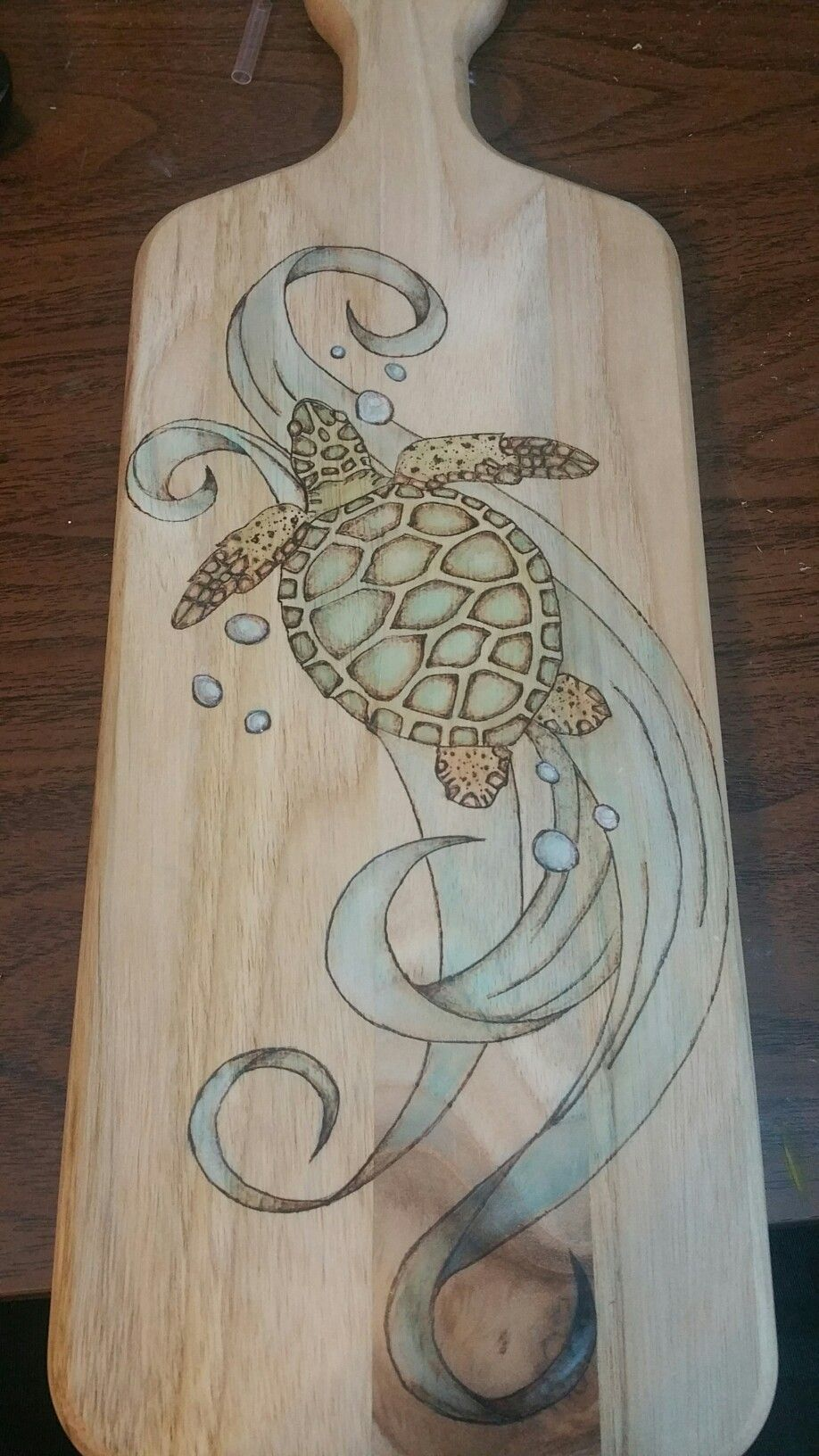 Wood Burned Sea Turtle Cutting Board Crafts To Sell