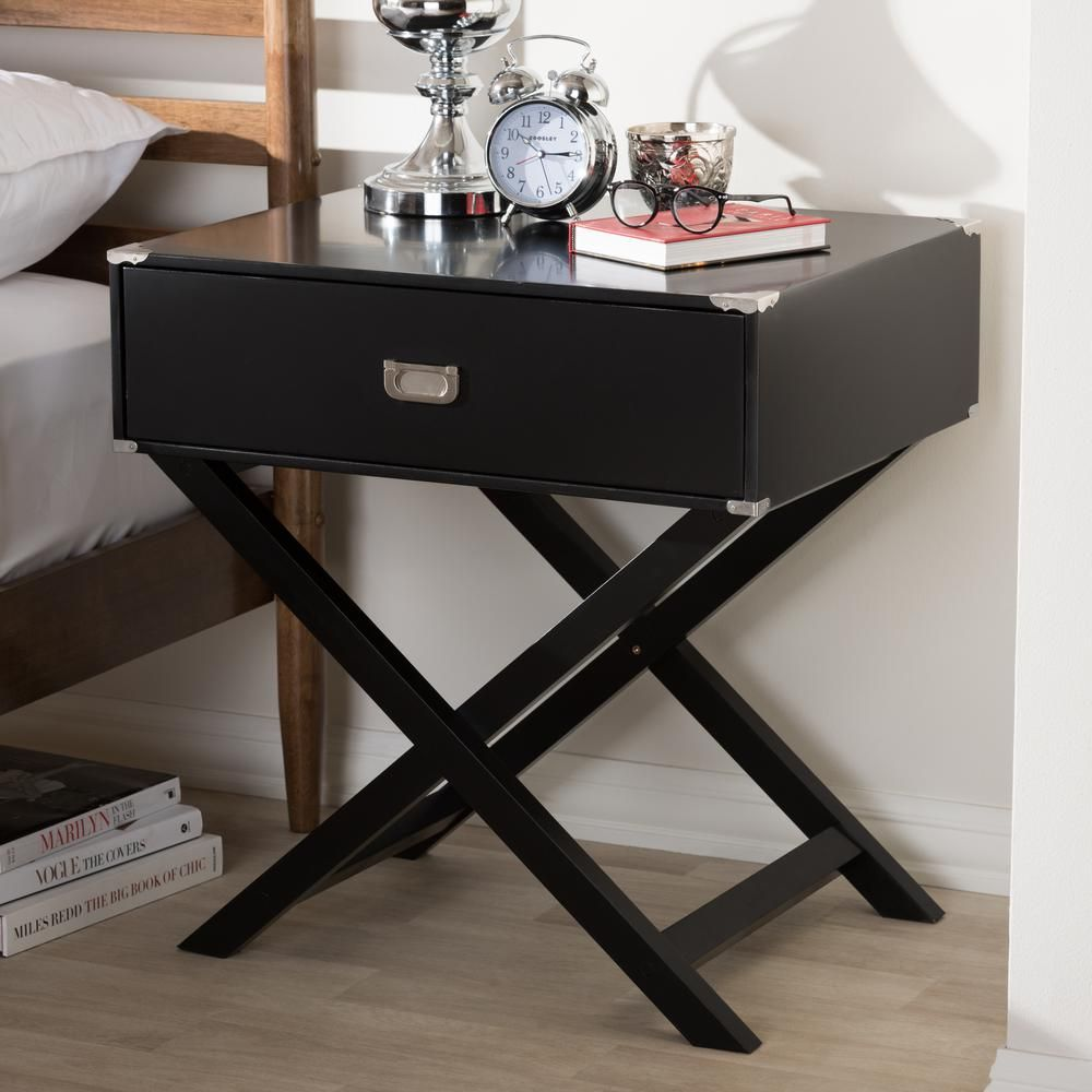 Baxton Studio Curtice 1 Drawer Black Nightstand 28862 7628 Hd