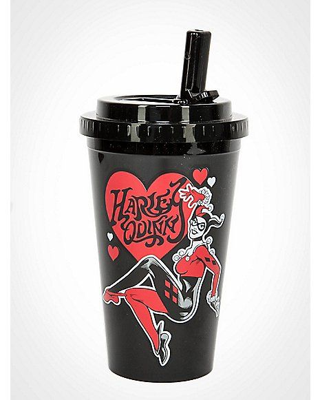 Harley Quinn Heart Cup with Flip Up Straw - Spencer's