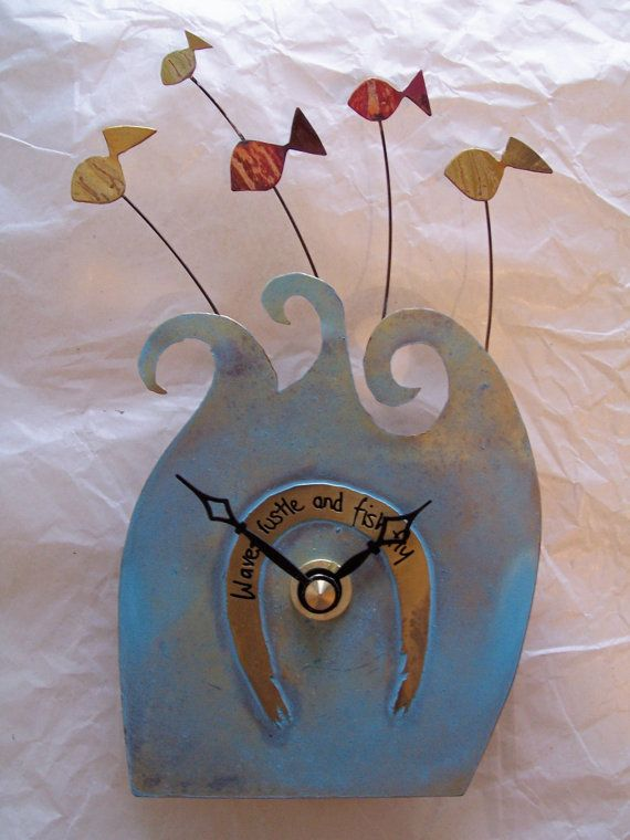 Small Fish blue clock