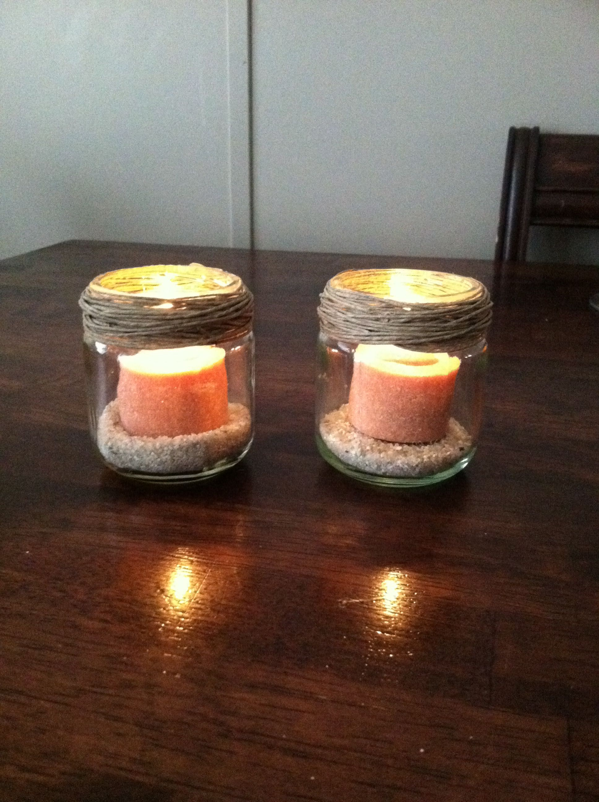 homemade candle holders baby food jars sand hot glue twine