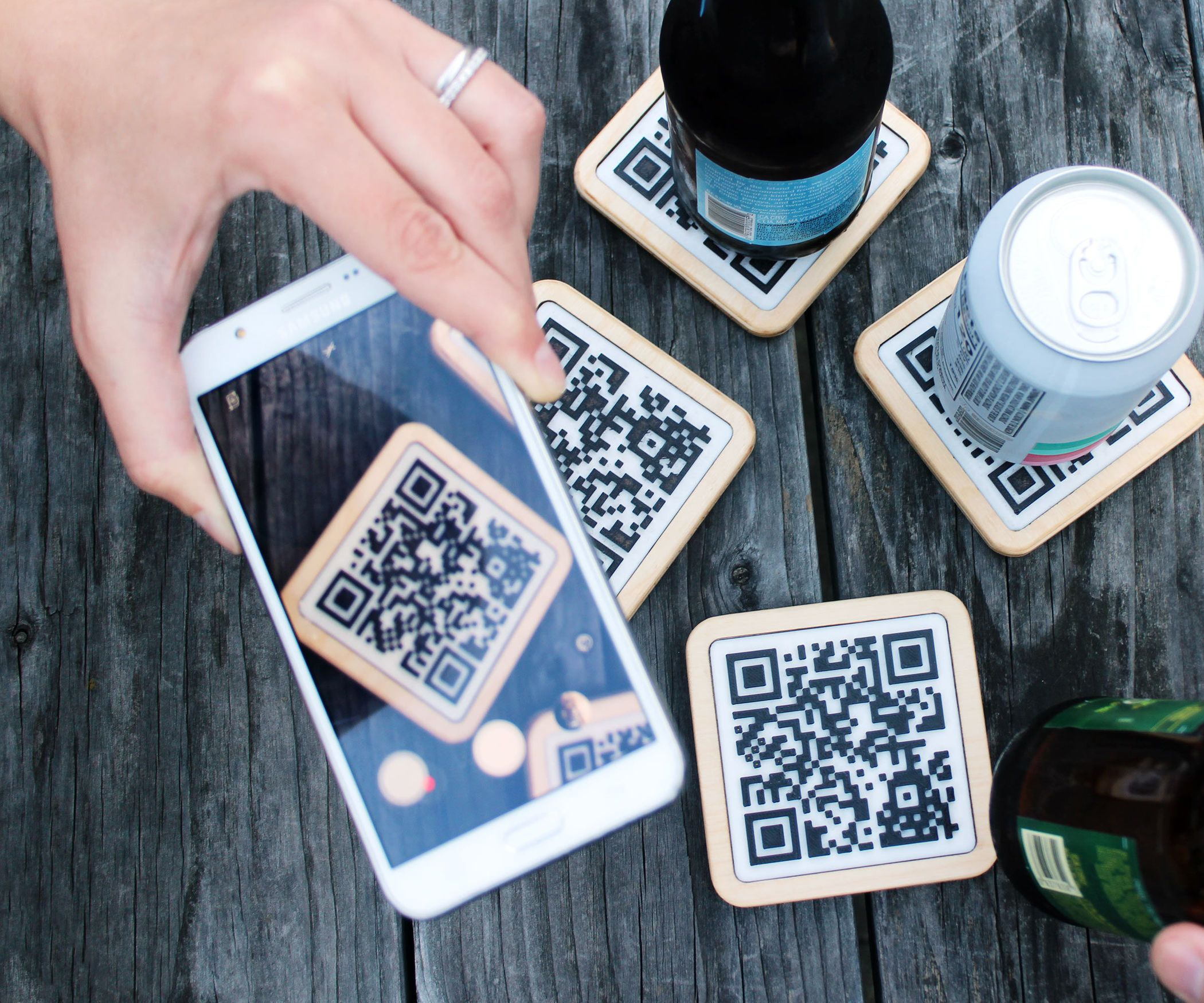QR Coasters  Qr code business card, Laser engraved ideas, Coasters