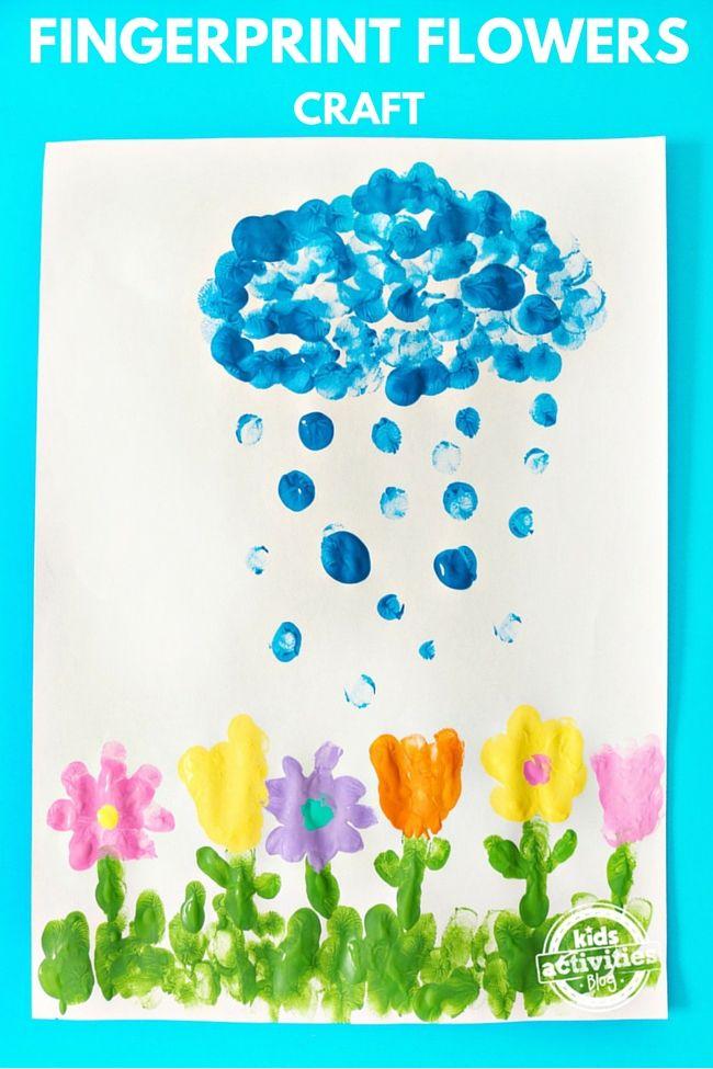 April Showers Bring May Flowers Fingerprint Craft Preschoolers