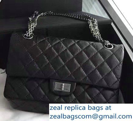 ec52dc1a0cdb Chanel 2.55 Reissue Size 225 Flap Bag Black With Silver Hardware In  Original Leather