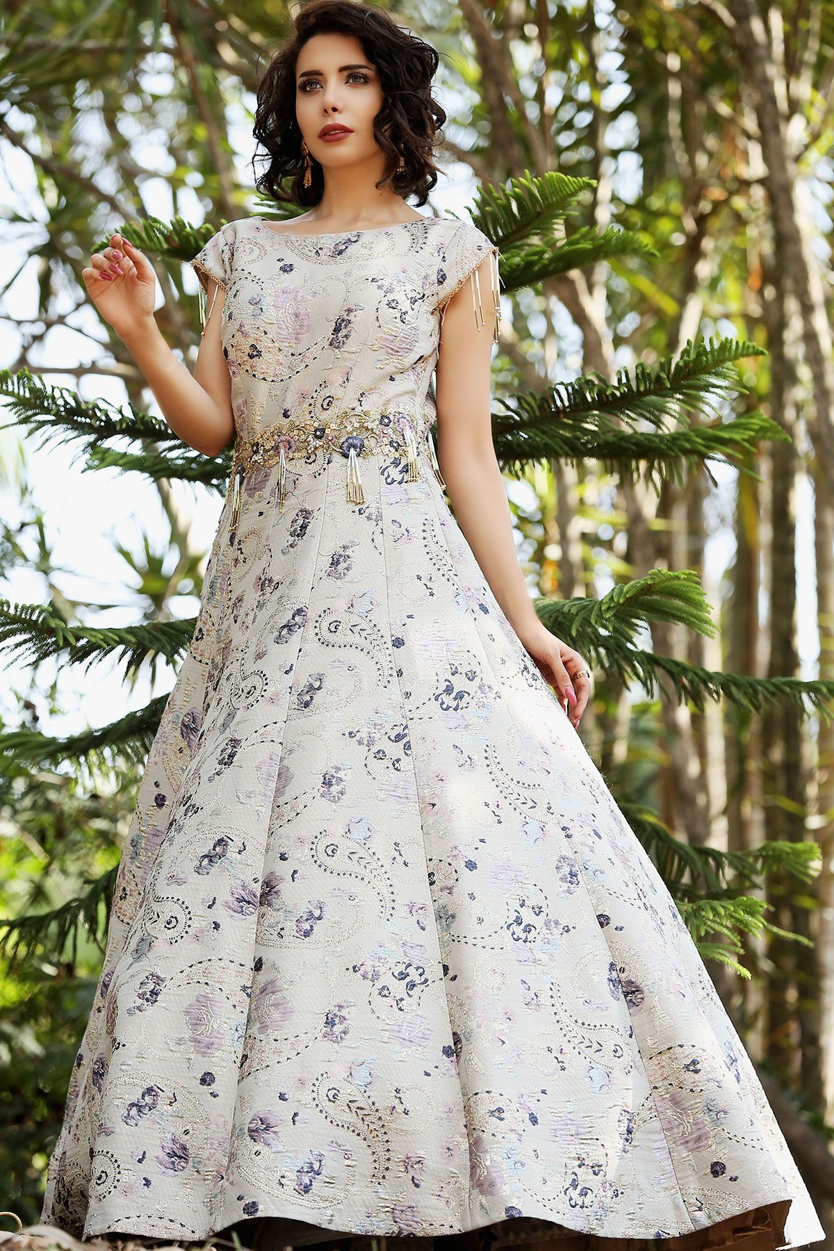 Buy Powder Blue Bead Embroidered Italian Evening Gown
