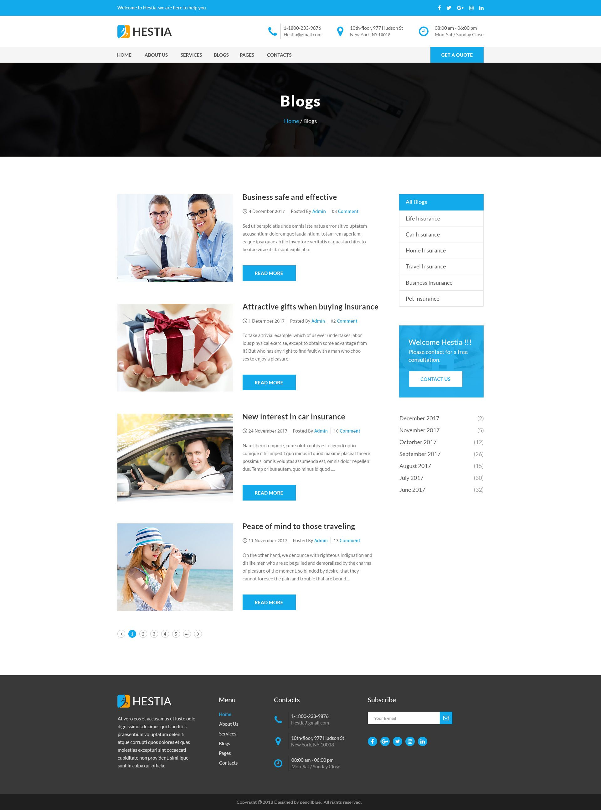 Hestia insurance agency business psd template