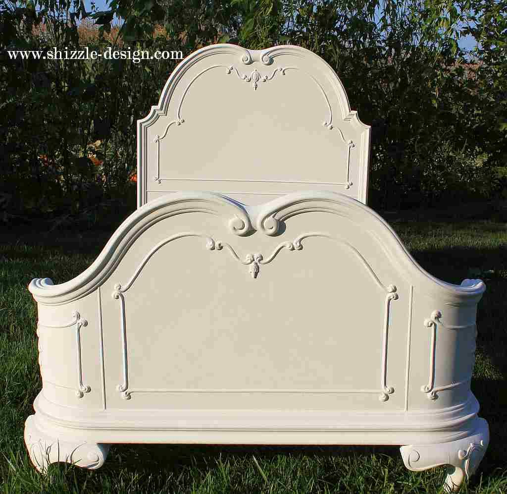 Antique Hand Painted Princess Twin Bed Beautiful Sculpted Headboard Shizzle  Design American Paint Company Chalk Clay
