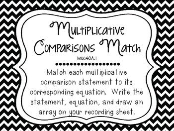 common core math centers multiplicative comparisons mcc4 oa 1 multiplication division. Black Bedroom Furniture Sets. Home Design Ideas