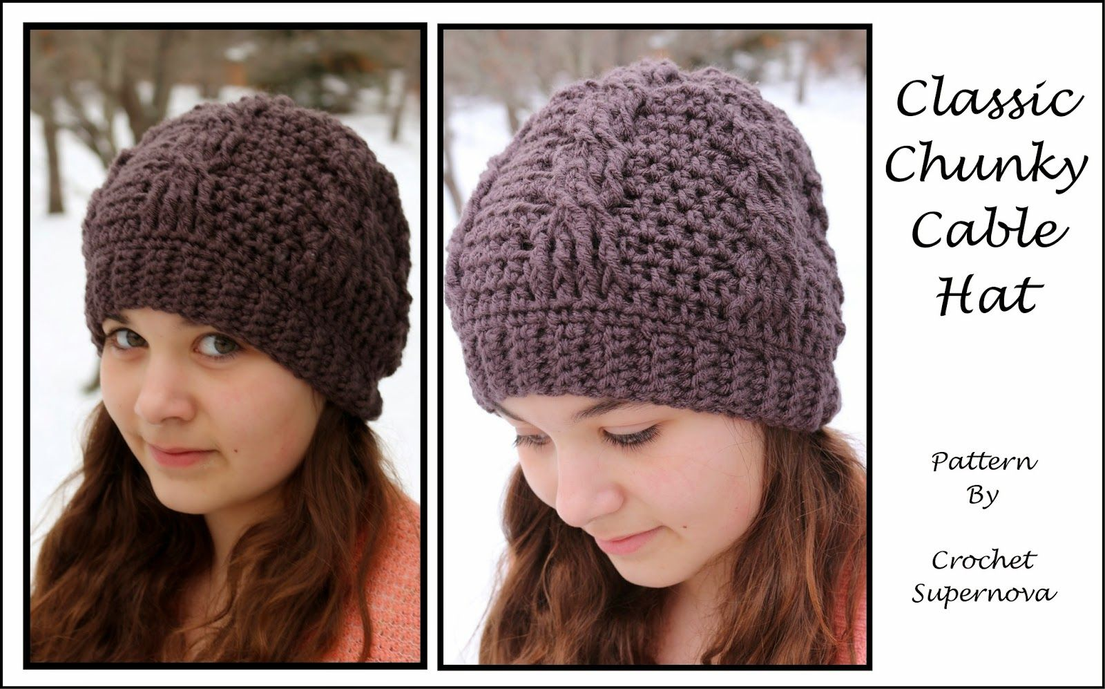 Crochet Supernova: Classic Chunky Cable Hat ~Free Pattern~ uses ...